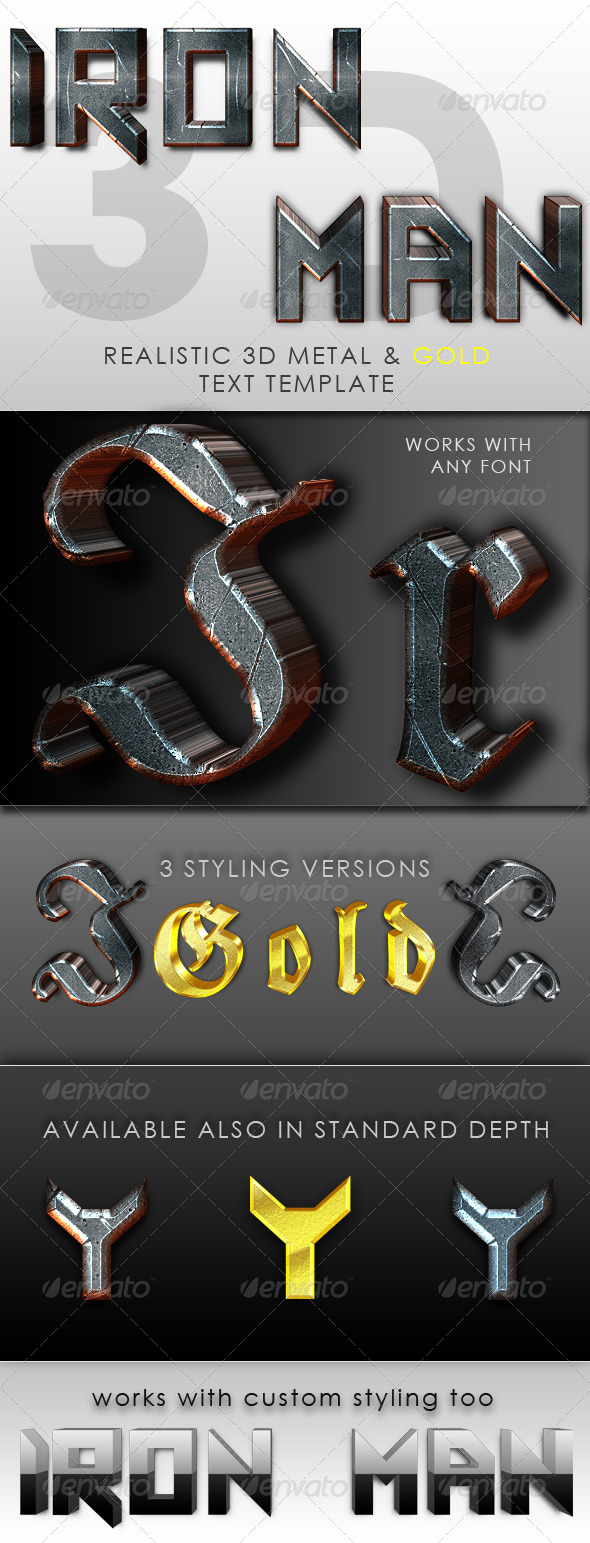Iron Man 3D Text Template - Miscellaneous Graphics
