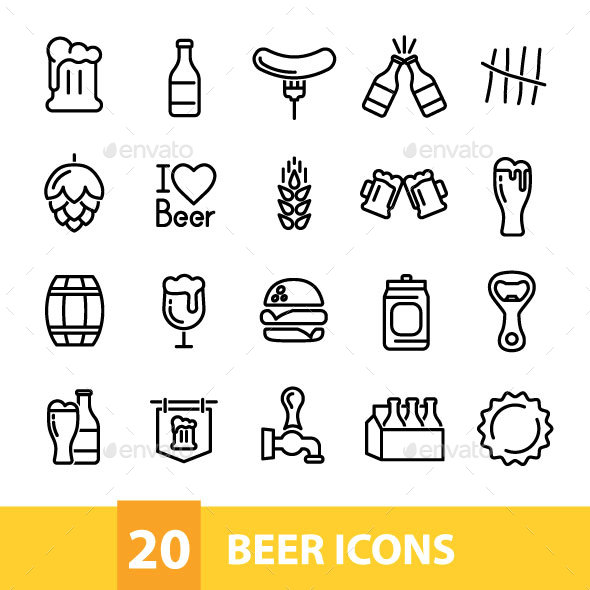 20 Beer Icons - Food Objects