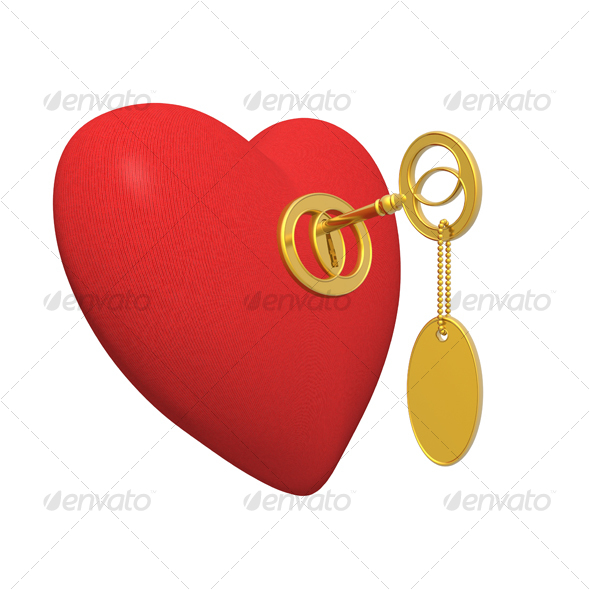 red heart and golden key - Objects 3D Renders
