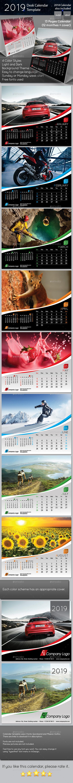 2019 Desk Calendar Template - Calendars Stationery