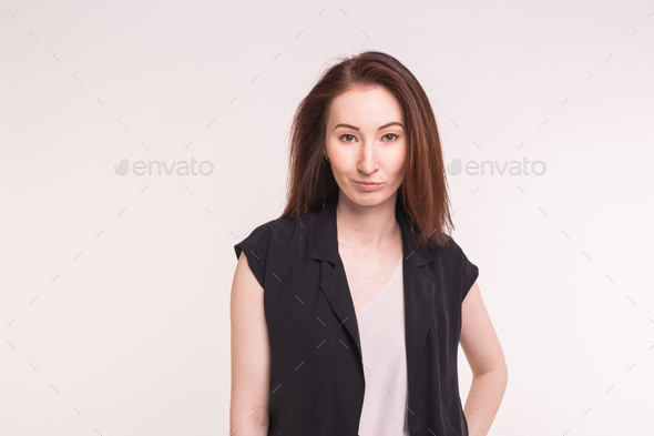 Young Asian pretty woman close up portrait on white background. - Stock Photo - Images