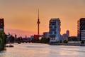 Beautiful orange sky at sunset over Berlin - PhotoDune Item for Sale