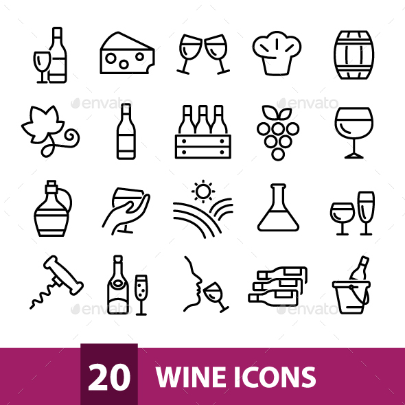 20 Wine Icons - Food Objects