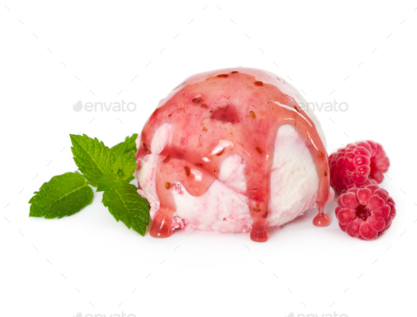 Scoop of raspberry ice cream with fresh raspberries, mint and ra - Stock Photo - Images