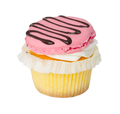 Cupcake with vanilla cream and strawberry macaroon isolated on w - PhotoDune Item for Sale