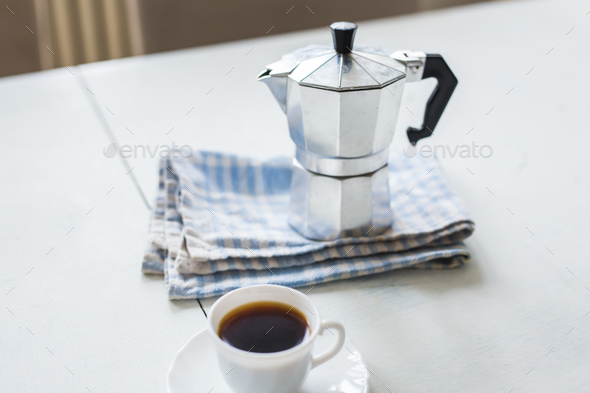 The morning of each person begins with coffee - Stock Photo - Images