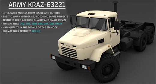 Army KRAZ-63221 3D Model