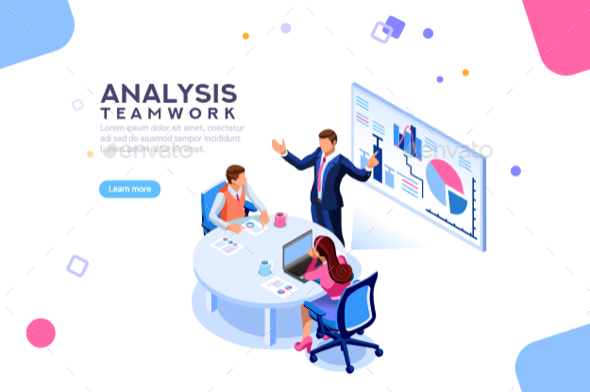 Consulting Team Flat Isometric Banner - Concepts Business
