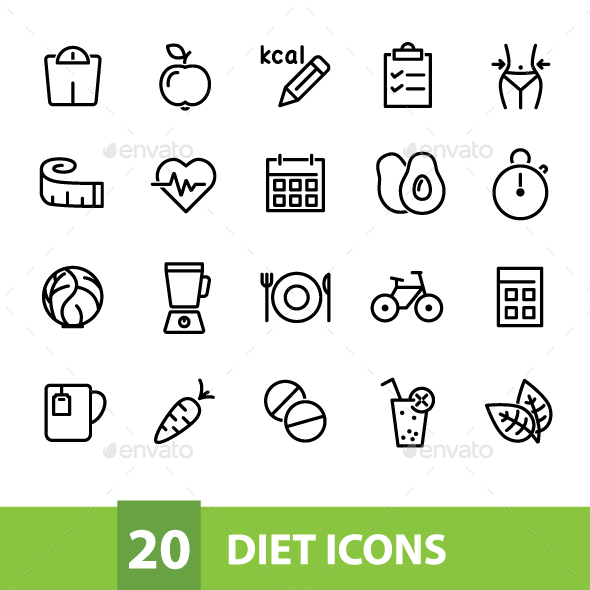 20 Diet Icons - Food Objects