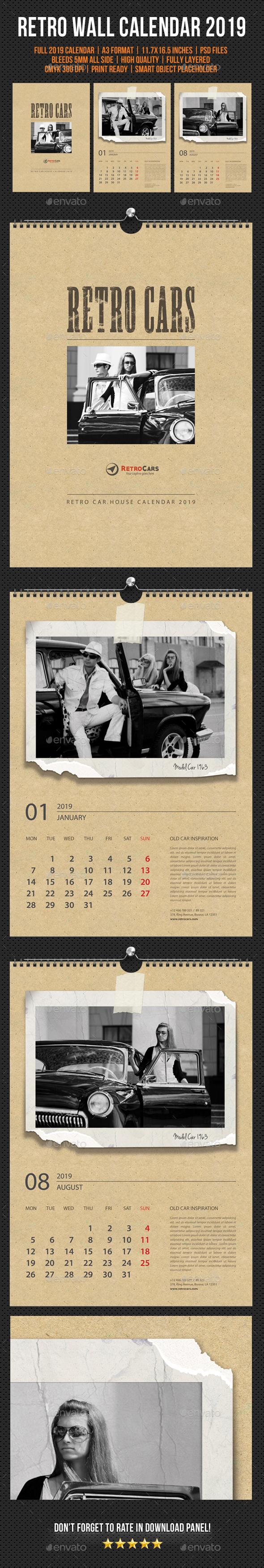 Wall Calendar 2019 Retro Photo - Calendars Stationery