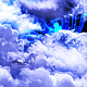 Flying Through Abstract Blue and White Clouds with Mysterious Planet on Background - VideoHive Item for Sale