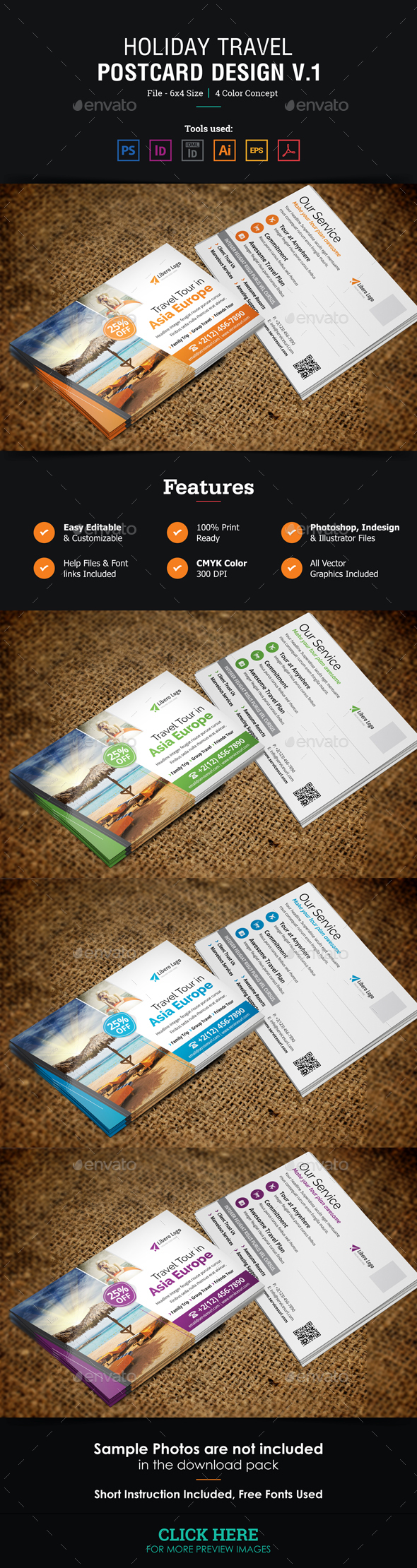 Holiday Travel Postcard Design v1 - Cards & Invites Print Templates