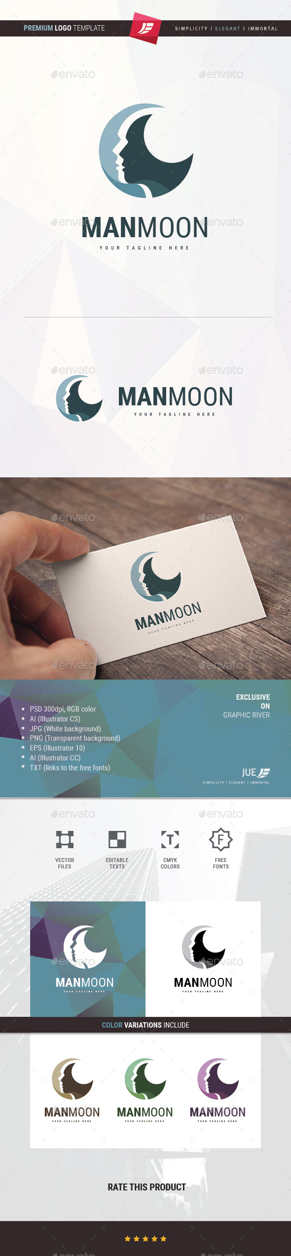 Man Moon Logo - Humans Logo Templates
