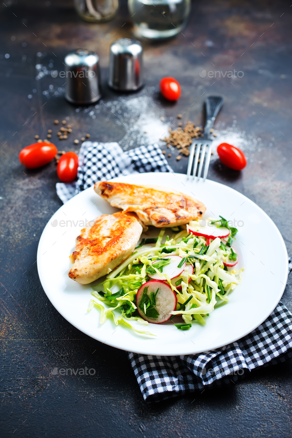 chicken with salad - Stock Photo - Images