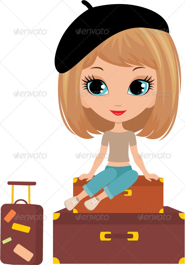 Pretty girl sits on a suitcase - People Characters