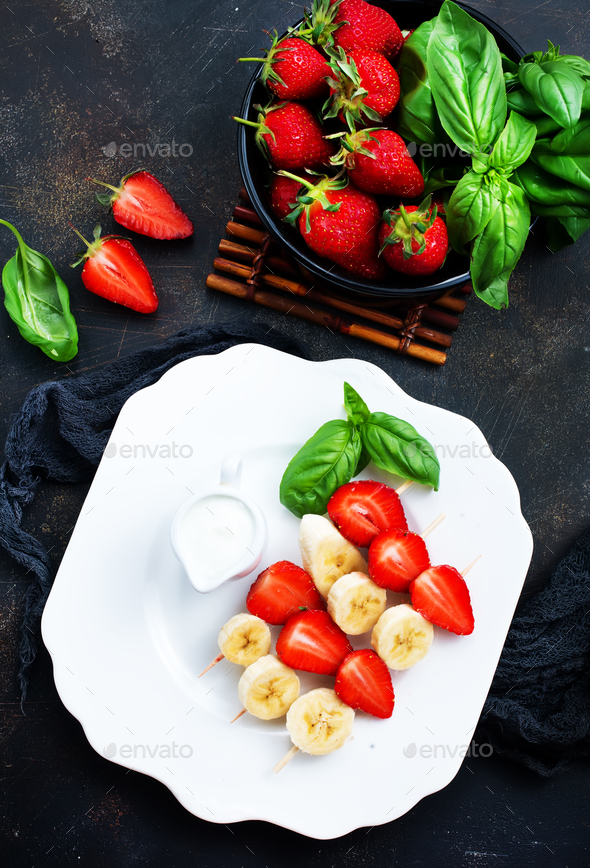 banana with strawberry - Stock Photo - Images