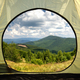 View from inside a tent on mountains landscape - PhotoDune Item for Sale