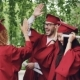 Multiracial Group of Young People Students Are Doing High-five on Graduation Day Wearing Traditional - VideoHive Item for Sale
