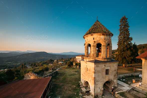 Kutaisi, Georgia. Bell Tower Of Gelati Monastery In Evening Time - Stock Photo - Images