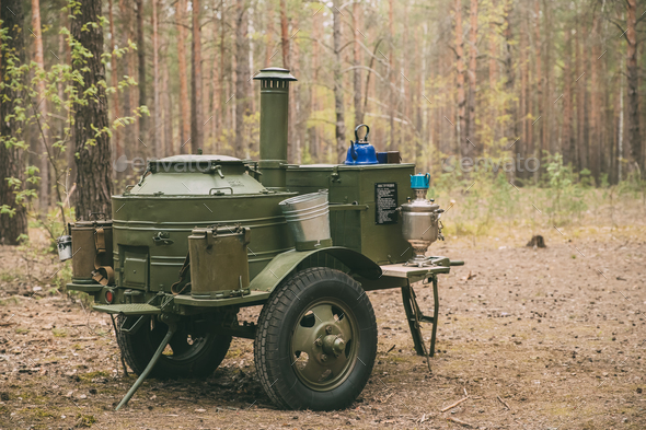 Russian Soviet World War Ii Field Kitchen In Forest. WWII Equipm - Stock Photo - Images