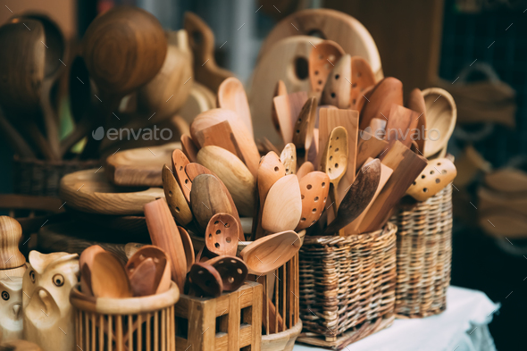Set Of Handmade Wooden Spoons In European Traditional Market - Stock Photo - Images