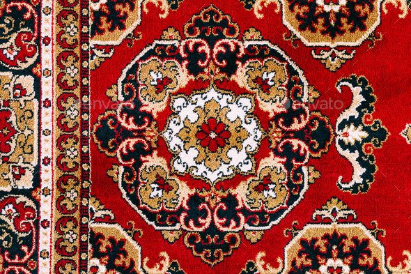 Red Asian Oriental Carpet Texture Background Stock Photo by Grigory_bruev