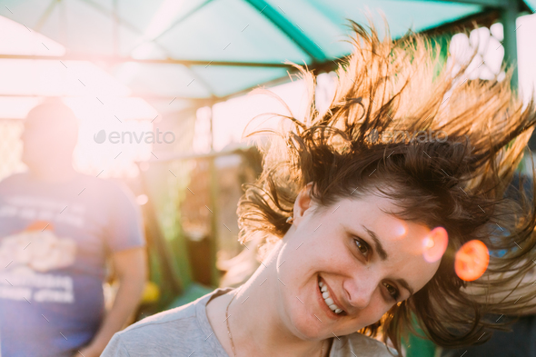 Happy Beautiful Young Adult Caucasian Girl Woman Having Fun And - Stock Photo - Images