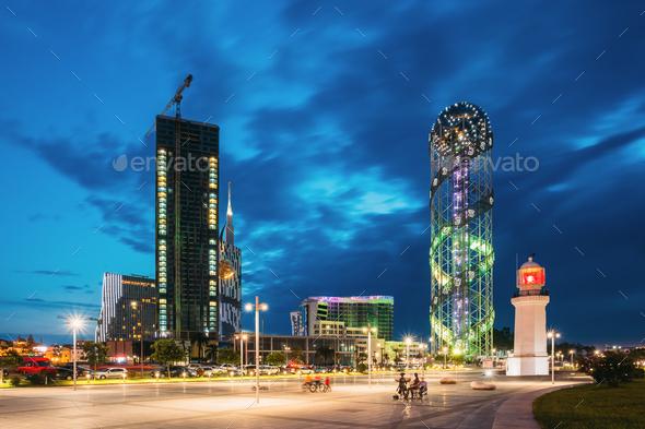 Batumi, Adjara, Georgia. Under Construction Skyscraper, Illumina - Stock Photo - Images
