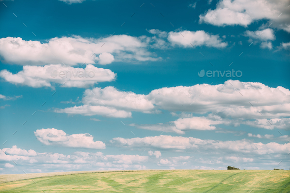 Summer Countryside Rural Field Meadow Landscape Under Scenic Dra - Stock Photo - Images