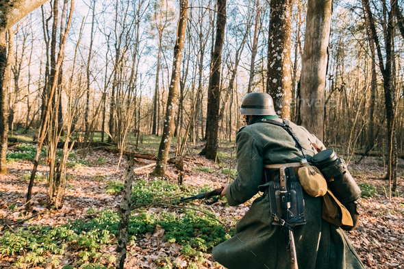 Re-enactor Dressed As German Infantry Wehrmacht Soldier Of The W - Stock Photo - Images