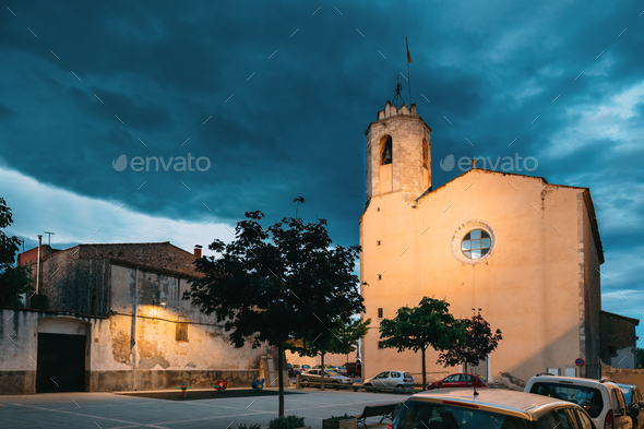 L'Armentera, Girona, Spain. Church Of Our Lady Of Armentera In S - Stock Photo - Images
