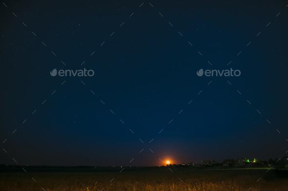 Moonrise Above Belarusian Village In Eastern Europe. Belarusian - Stock Photo - Images