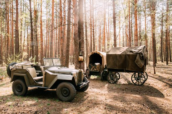 Russian Soviet World War Ii Four-wheel Drive Army Truck Gaz-67 C - Stock Photo - Images
