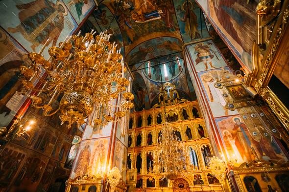 Sergiev Posad, Russia. Interior Of Dormition (Assumption) Cathed - Stock Photo - Images