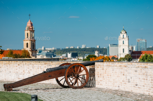 Vilnius, Lithuania. Old Cannon In Artillery Bastion Of Vilnius - Stock Photo - Images