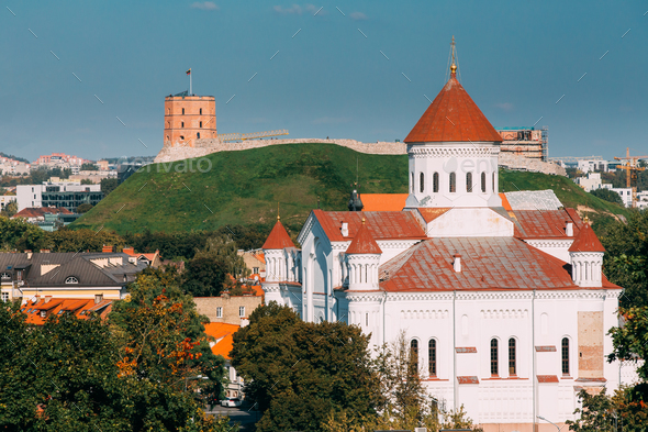 Vilnius, Lithuania. Cathedral Of Theotokos And Tower Of Gedimina - Stock Photo - Images