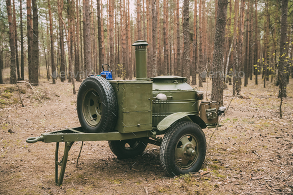 Russian Soviet World War Ii Field Kitchen In Forest. WWII Equipm - Stock Photo - Images