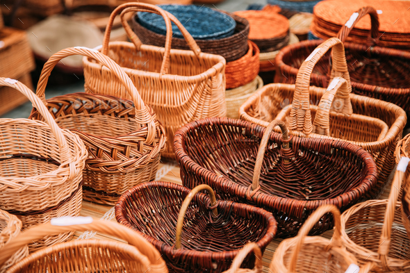 Handcrafts,  Handmade Wicker Baskets  In Local Market - Stock Photo - Images
