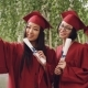 Pretty Girls Graduating Students Are Taking Selfie with Diploma Scrolls Using Smartphone, Women Are - VideoHive Item for Sale