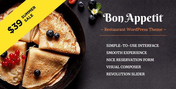 Bon Appetit - Restaurant WordPress Theme - Restaurants & Cafes Entertainment