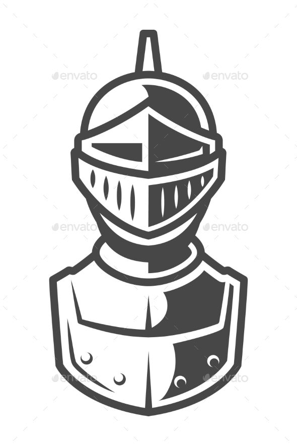 Knight Metal Helmet Front View Template by imogi | GraphicRiver
