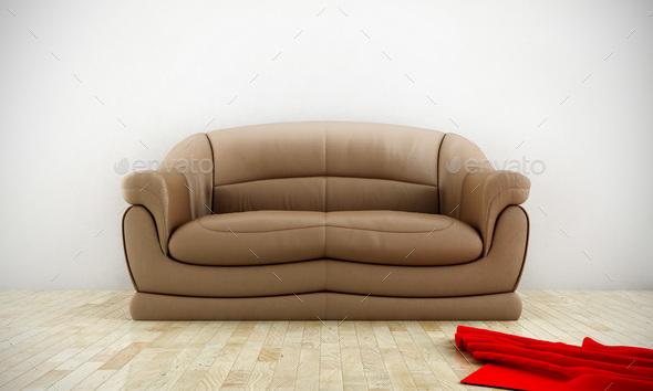Leather sofa - Stock Photo - Images