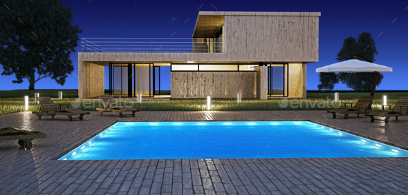Modern house with pool  - Stock Photo - Images