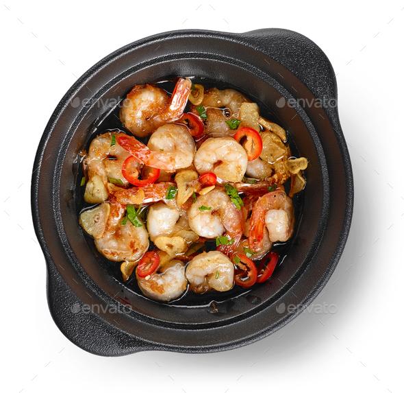spicy garlic prawns - Stock Photo - Images