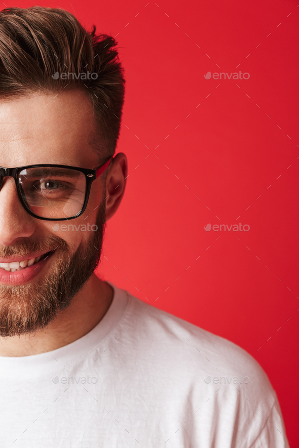 Cropped photo of handsome young smiling man - Stock Photo - Images