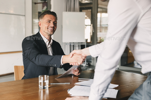 Business, career and placement concept - satisfied director man - Stock Photo - Images