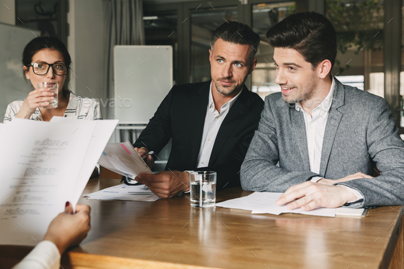Business, career and recruitment concept - group of employers in - Stock Photo - Images
