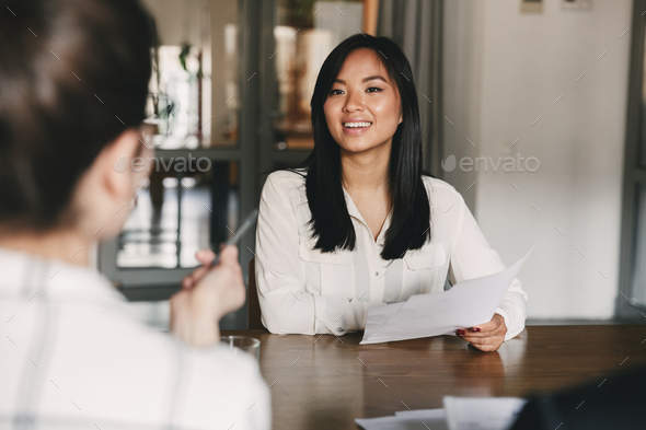 Business, career and placement concept - joyful asian woman smil - Stock Photo - Images