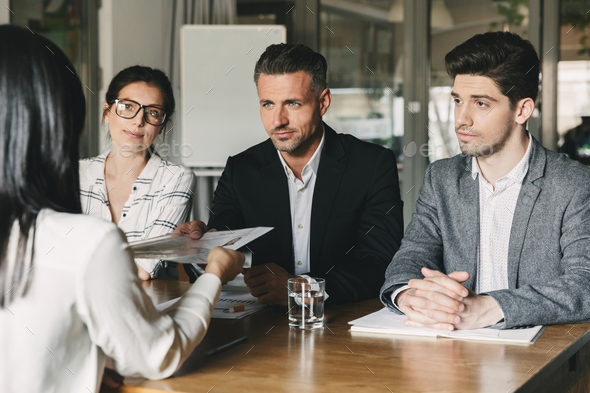 Business, career and placement concept - three executive directo - Stock Photo - Images