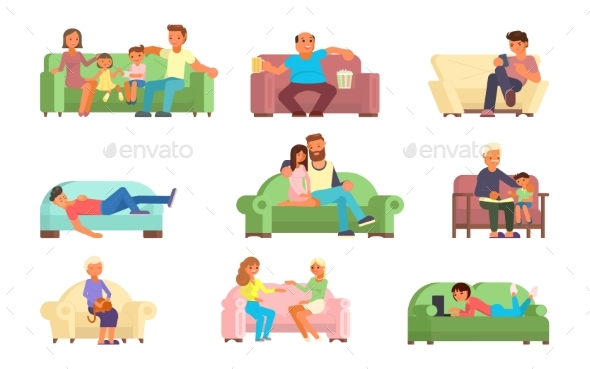 People on Sofa Vector Flat Style Illustration - People Characters